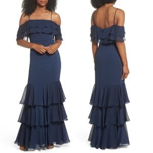 Wayf Ruffle Tiered Cold Shoulder Gown